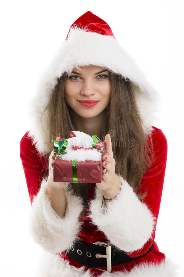 Santa girll holding a gift box stock photography