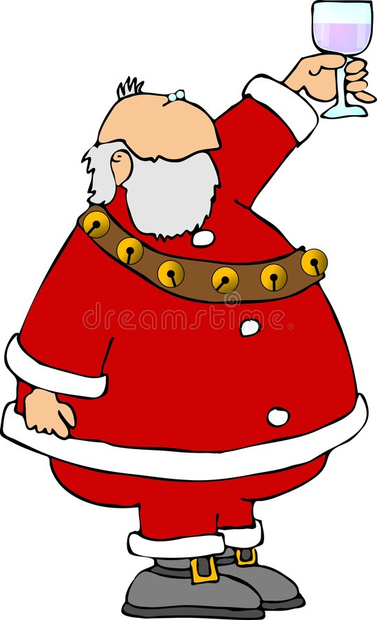 Santa with a glass of wine royalty free illustration