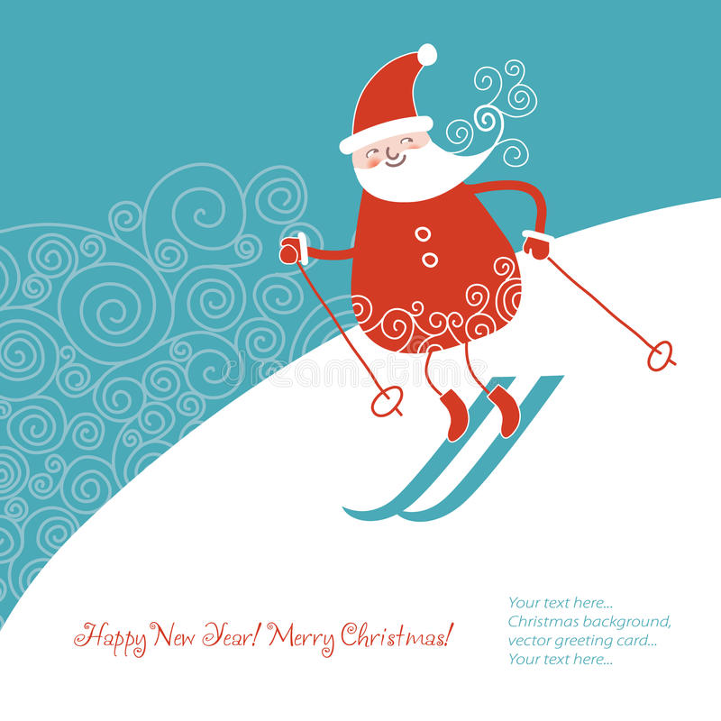 Santa go alpine skis vector illustration