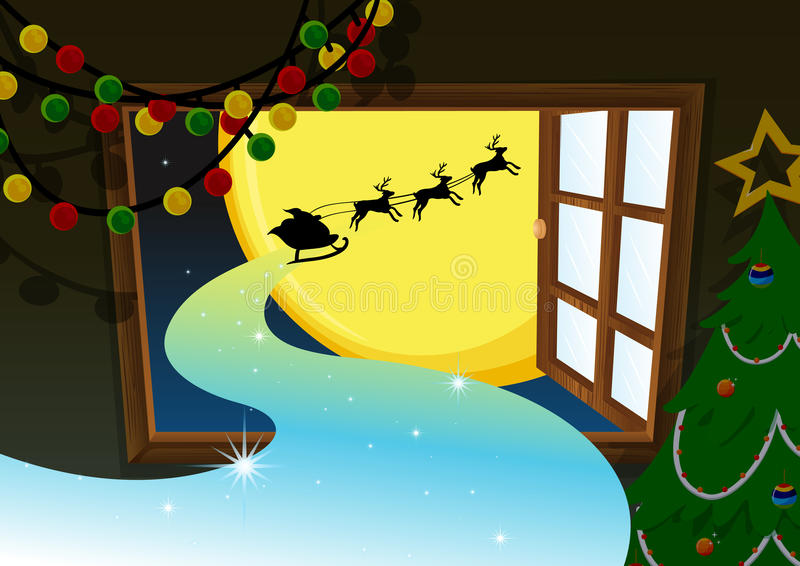 Download Santa Going In Reindeer Vehicle Stock Photo - Image: 33098640