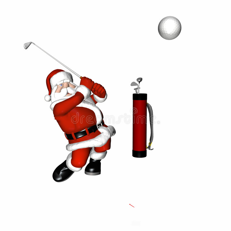 Santa Golf 1. Santa Playing Golf. Hitting a long drive. Isolated on a white background