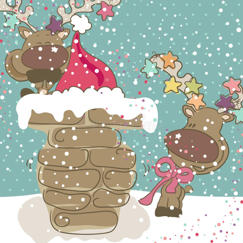 Download Santa got stuck stock illustration. Image of doodle, happy - 27942048