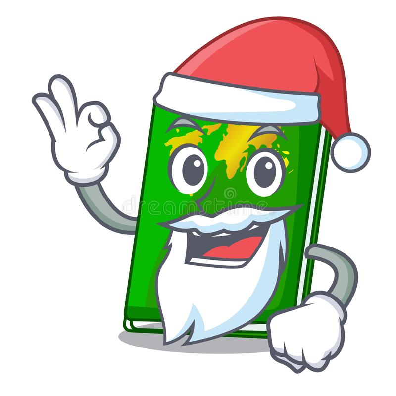 Santa green passport on the mascot table. Vector illustration royalty free illustration