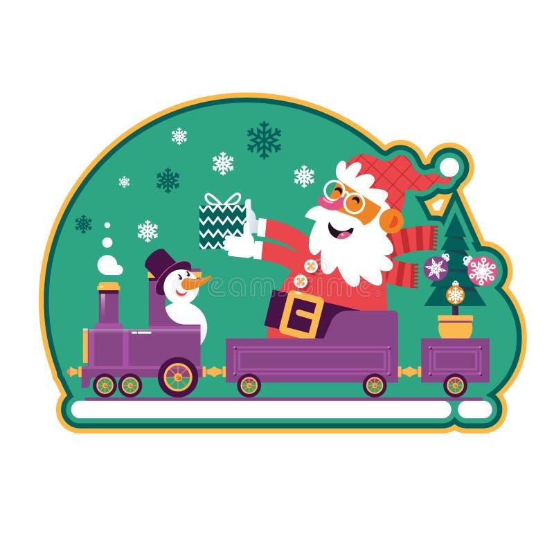 Santa Green With Green Tree och gåvor Gullig tecknad film Santa Claus Sticker stock illustrationer