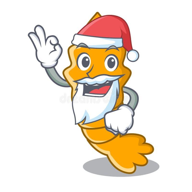 Santa ha cotto a vapore il gamberetto crudo fresco sul fumetto della mascotte royalty illustrazione gratis