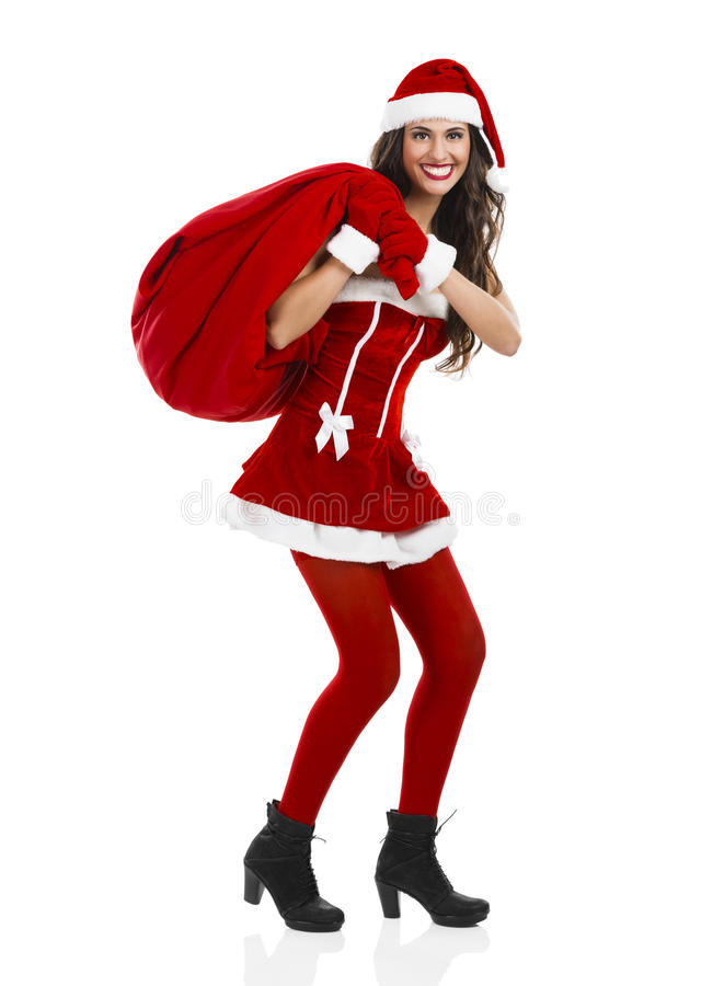 Santa hace una presentación fotografía de archivo libre de regalías