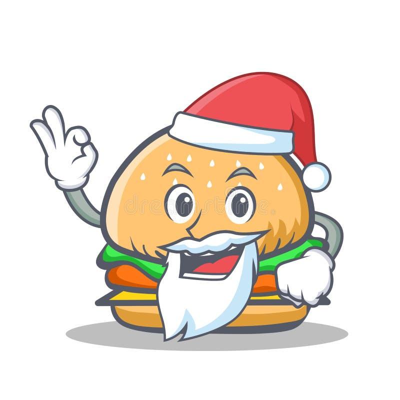Santa hamburgeru charakteru fast food ilustracja wektor