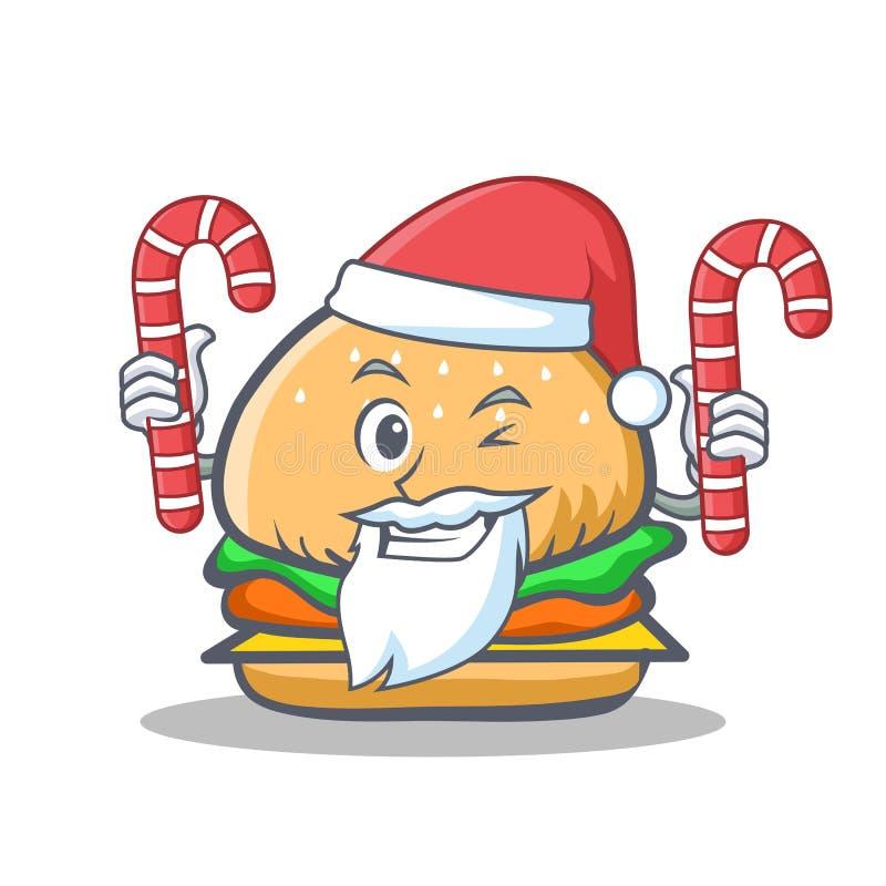Santa hamburgeru charakteru fast food z cukierkiem ilustracji