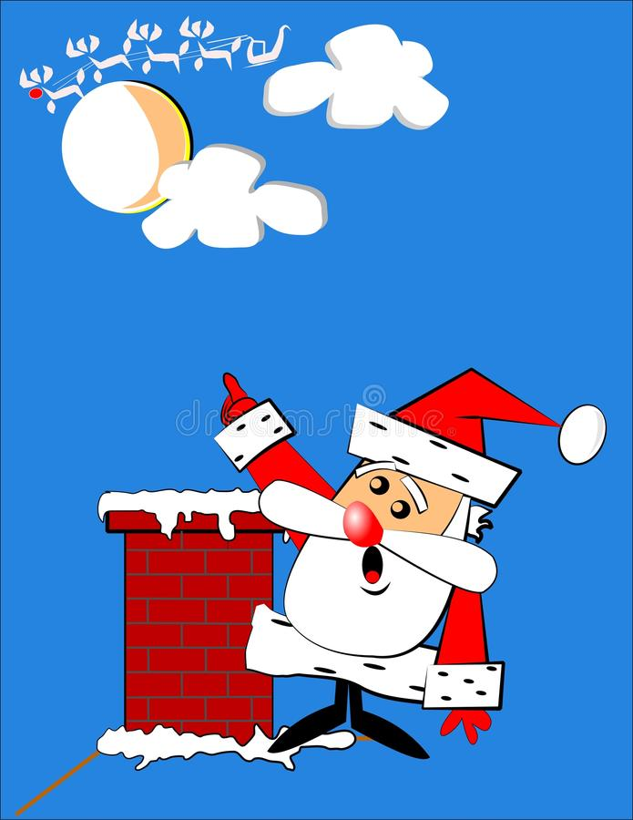 Santa has a problem. Santa on rooftop pointing to his reindeer which have run away to play stock illustration