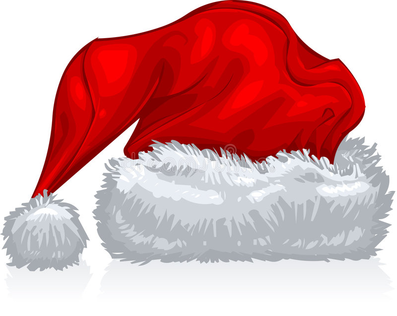 Santa Hat. Vector clip art illustration of a red, holiday, Santa hat, in white background