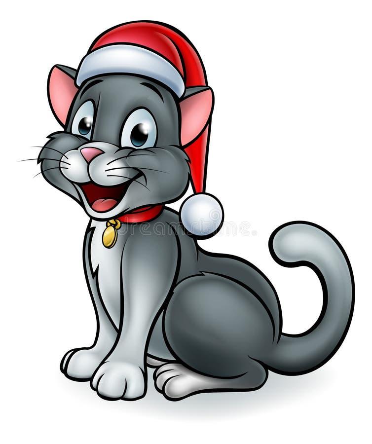 Santa Hat Christmas Cat stock abbildung