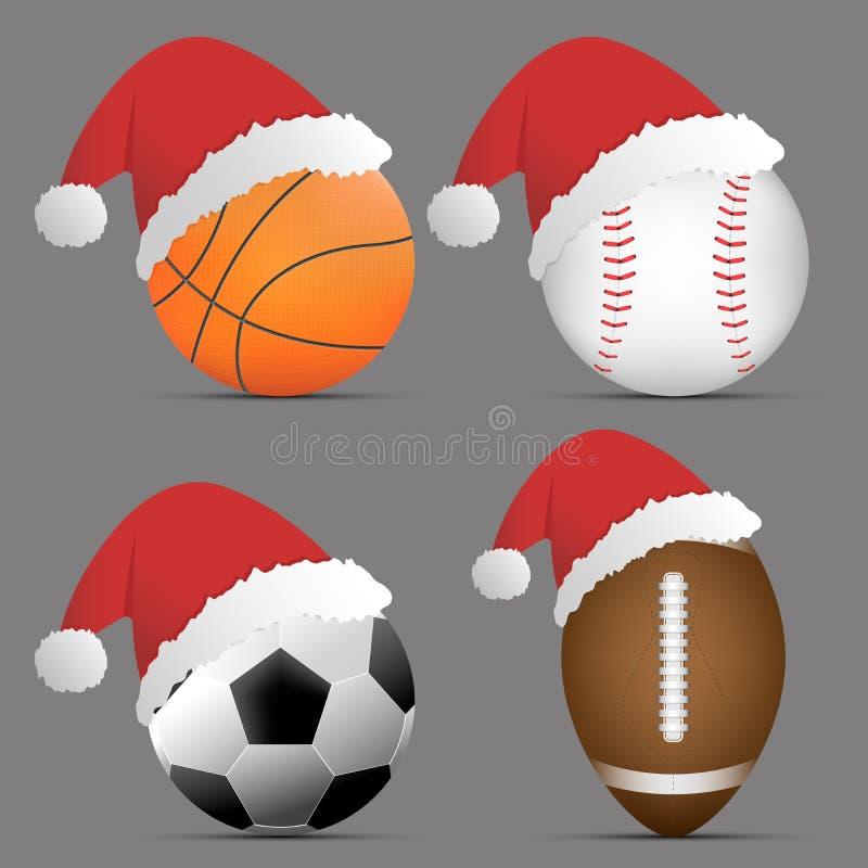 Santa Hat con pallacanestro e calcio o calcio e rugby o football americano e baseball su fondo grigio Insieme della sfera di spor illustrazione di stock