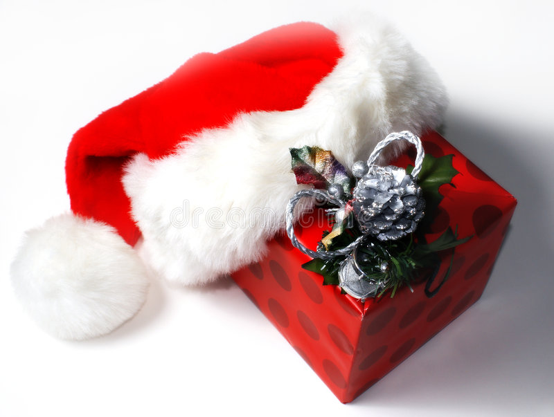 Download Santa Hat with Gift stock photo. Image of wrapped, santa - 7330538