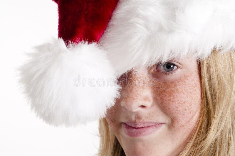 Santa hat and girl