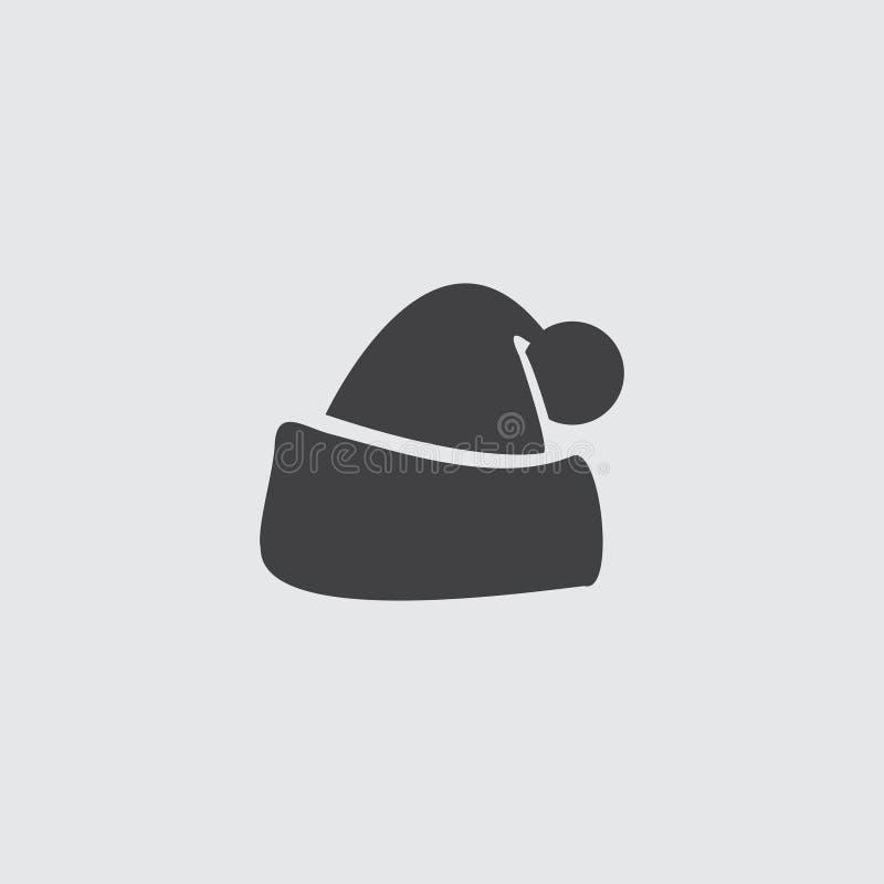 Santa hat icon icon in a flat design in black color. Vector illustration eps10 vector illustration