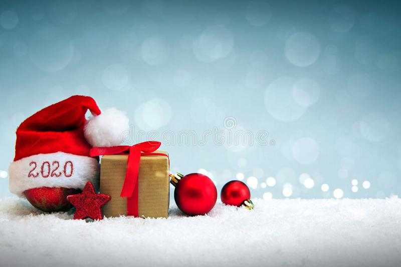 Happy new year 2020 Santa Hat and white snow. stock photo