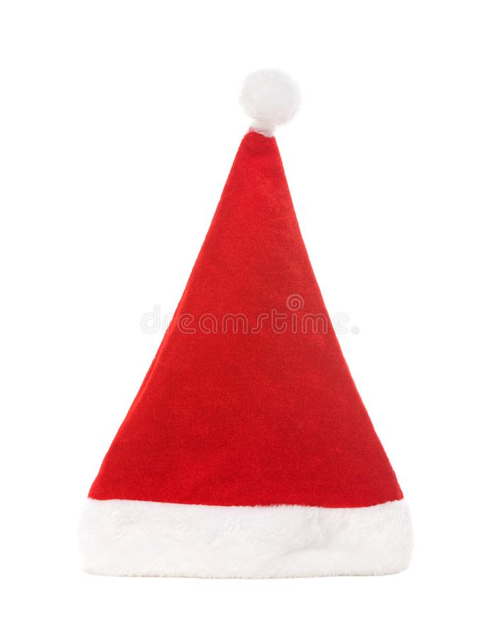 Santa hat isolated on white background. Happy xmas hollidays. Santa hat at studio. royalty free stock photo