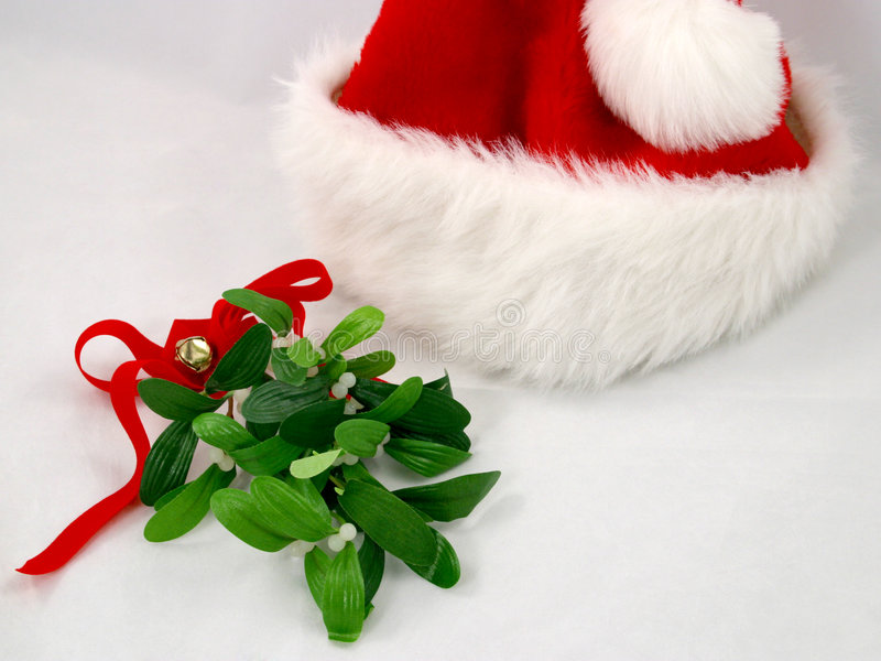 Santa Hat & Mistletoe stock photo