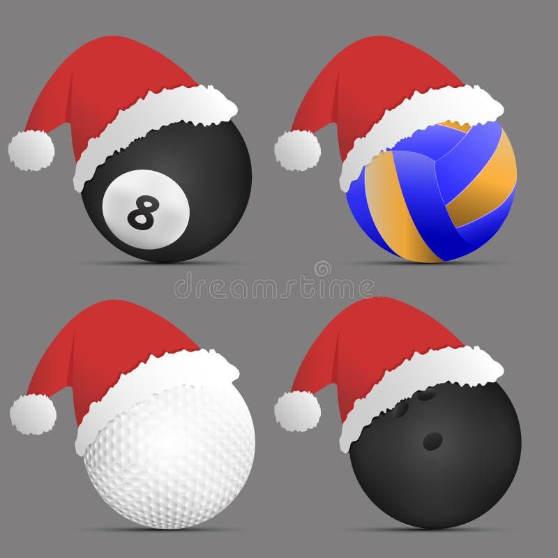 Santa Hat mit Satz Sportbällen Vektor illustrati stock abbildung