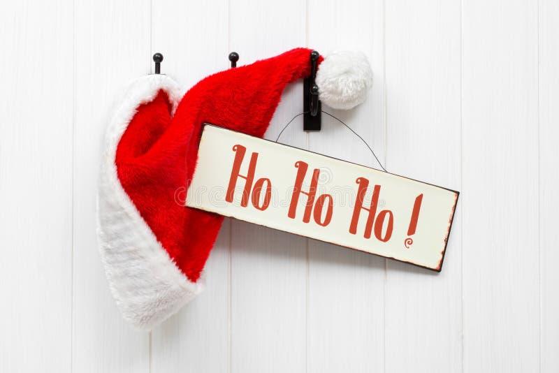 Santa Hat & Sign royalty free stock image