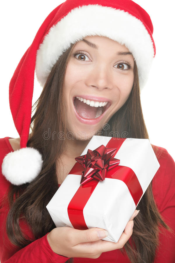 Download Santa Hat Woman Holding Gift Excited Stock Image - Image: 16224453