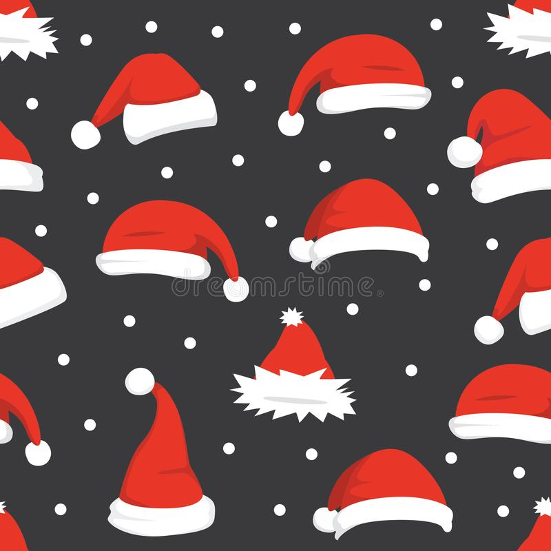 Santa hats background. Christmas seamless pattern vector. New year cartoon red hat. vector illustration