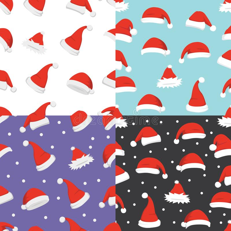 Santa hats background. Christmas seamless pattern vector. New year cartoon red hat. royalty free illustration