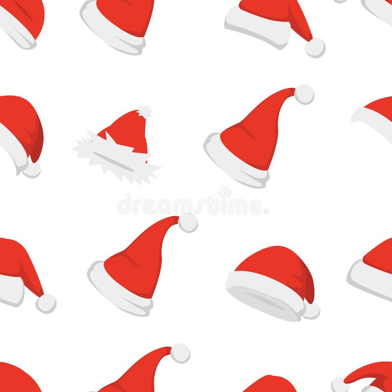 Santa hats background. Christmas seamless pattern vector. New year cartoon red hat. stock illustration