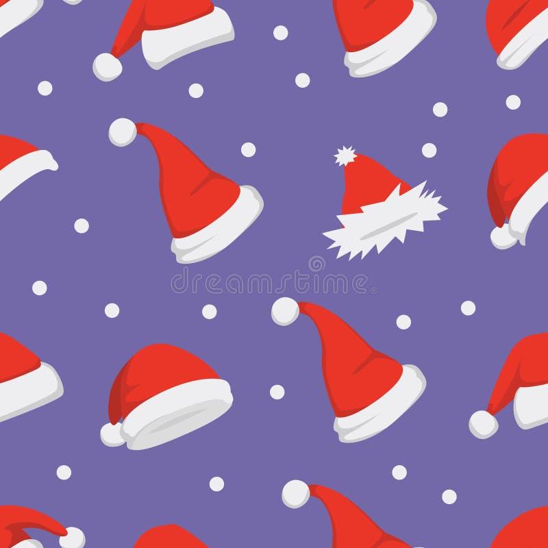 Santa hats background. Christmas seamless pattern vector. New year cartoon red hat. royalty free illustration