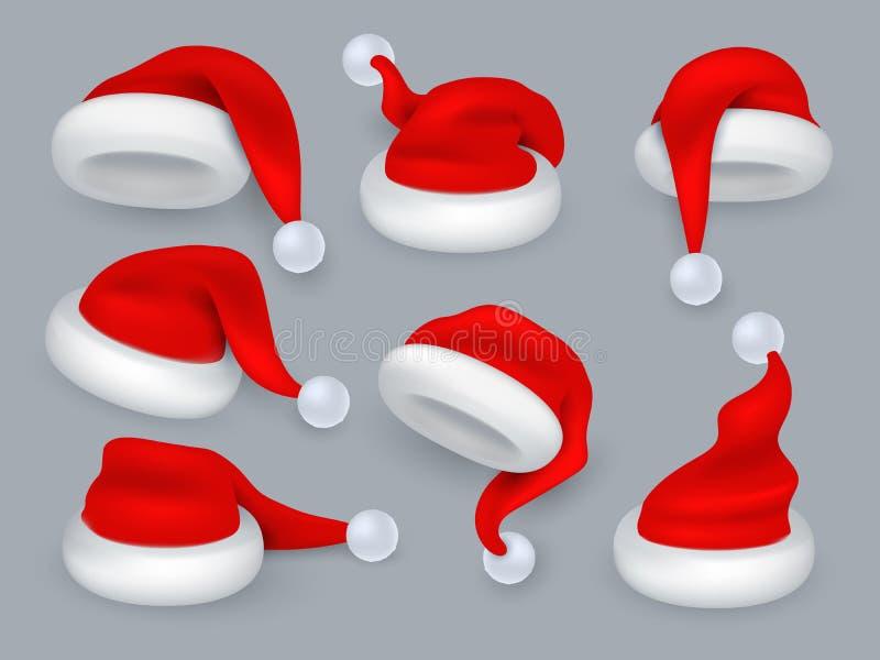 Santa Hats Chapeau de Noël 3d le père noël, chapeaux rouges de vacances d'hiver avec la fourrure Ensemble d'isolement réaliste de illustration libre de droits