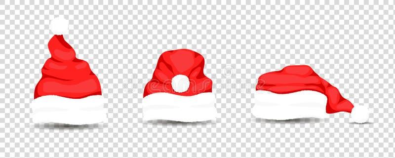 Santa Claus hats, vector illustration stock illustration