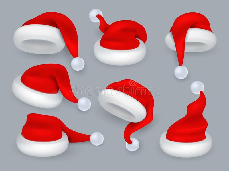 Santa hats. Christmas 3d santa claus hat, winter holiday red caps with fur. Vector realistic isolated set royalty free illustration