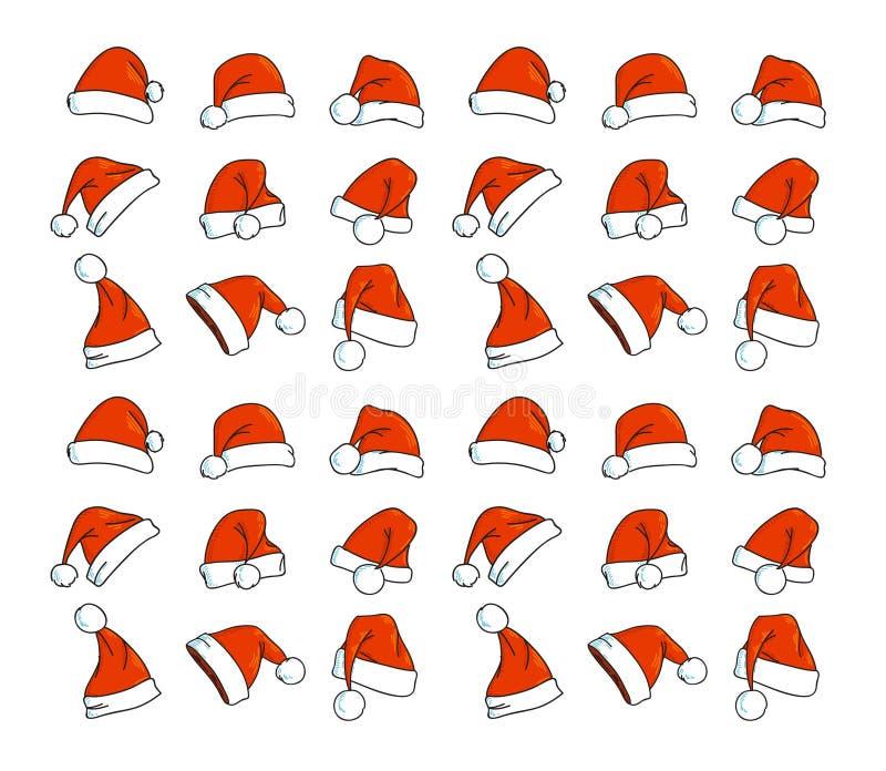 Santa hats doodles. The Santa hats doodles vecor stock illustration