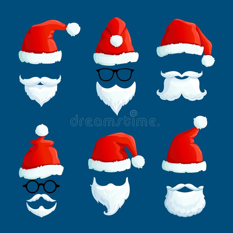 Santa hats with moustache and beards. Cartoon santa front wearing. Winter clothes isolated vector set stock illustration