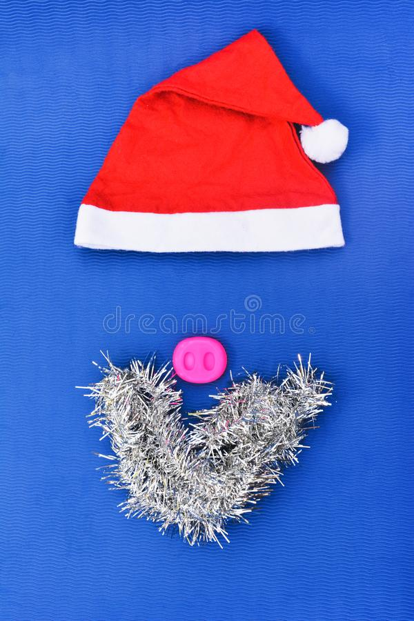 Santa hats with moustache. claus hat red stock photography