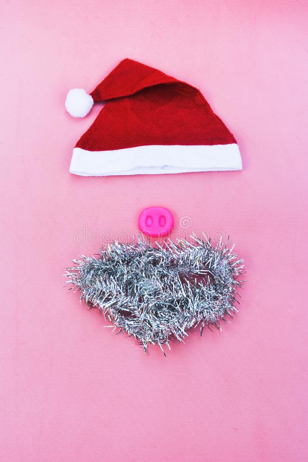 Santa hats with moustache. claus hat red royalty free stock photo