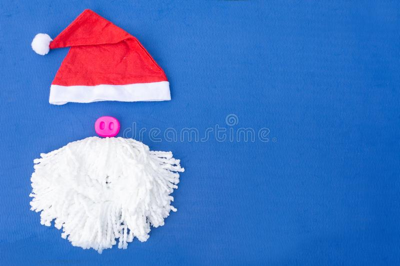 Santa hats with moustache. claus hat red stock images