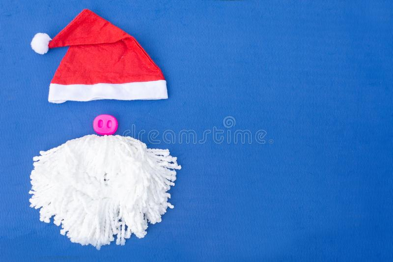 Santa hats with moustache. claus hat red, stock images