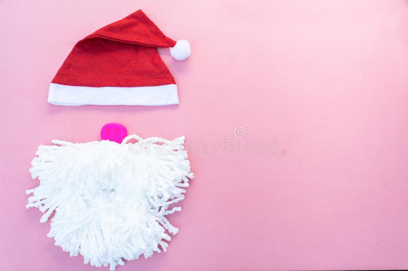 Santa hats with moustache. claus hat red royalty free stock photos