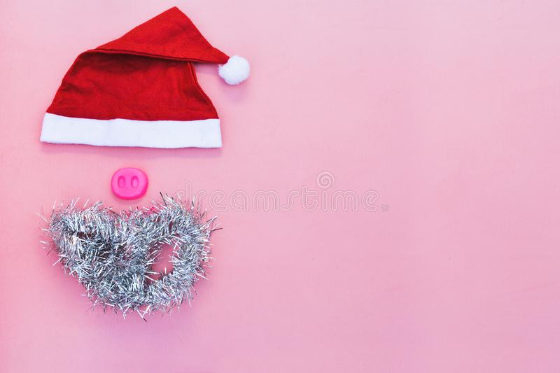 Santa hats with moustache. claus hat red royalty free stock image