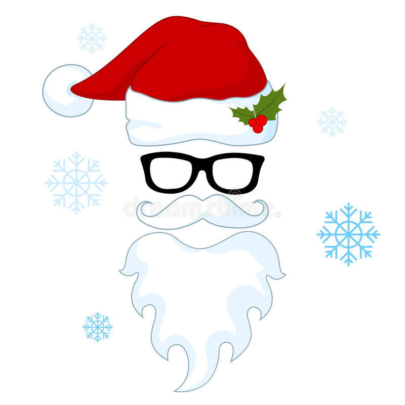 Santa hats, mustache and beards. Christmas elements for your festive design.Vector illustration isolated on the white background vector illustration