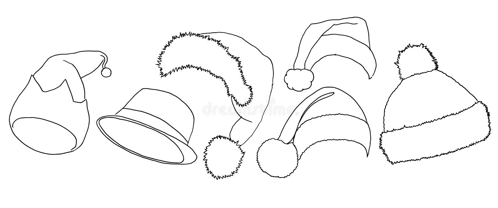 Santa hats vector. Pencil sketch icons. New Year and Christmas decoration elements vector illustration