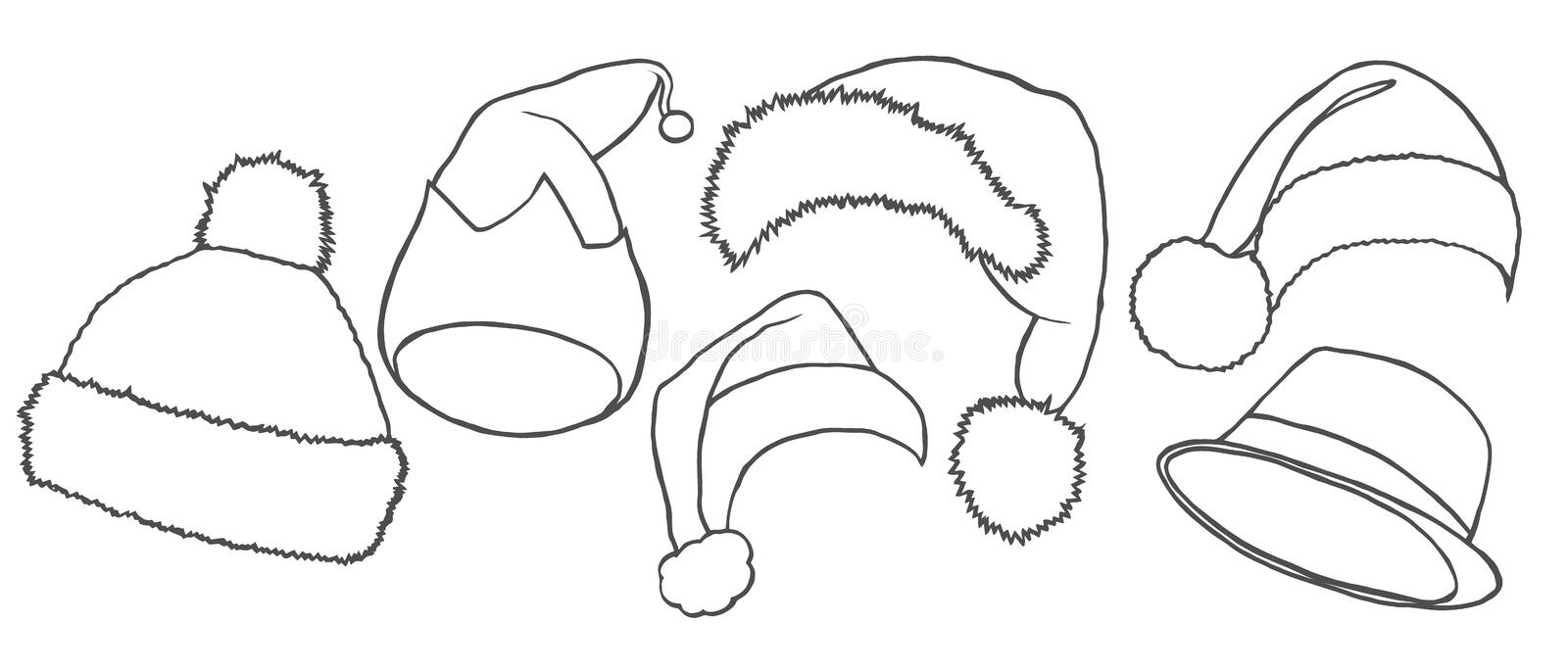 Santa hats vector. Pencil sketch icons. New Year and Christmas decoration elements royalty free illustration