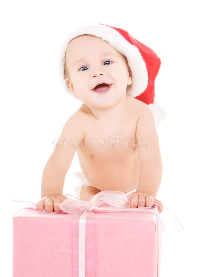 Santa Helper Baby With Christmas Gift Royalty Free Stock Images