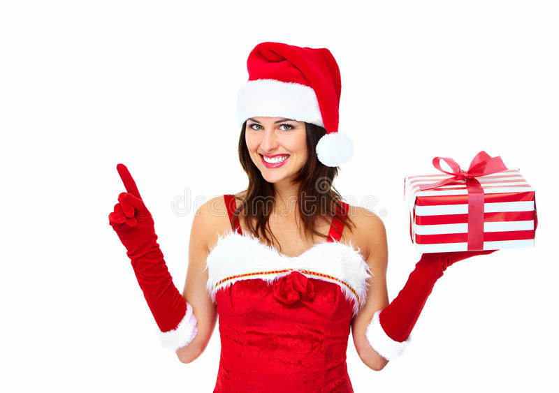 Download Santa Helper Christmas Girl With A Present. Stock Photo - Image: 35580368