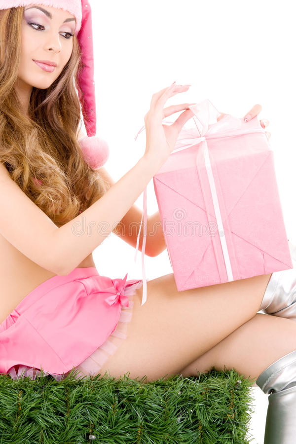 Santa helper with gift box stock image