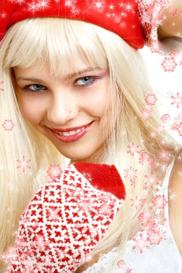 Download Santa Helper Girl #2 With Snowflakes Stock Photo - Image: 1594702