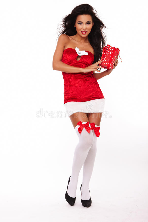 Santa helper girl on white background royalty free stock photo