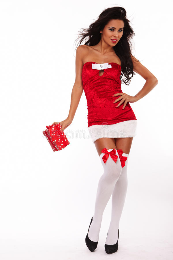 Santa helper girl on white background stock photo