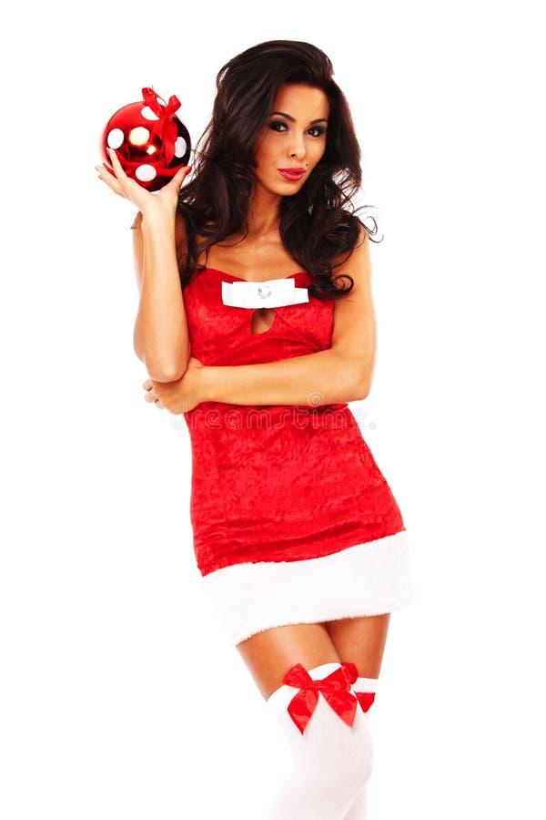 Download Santa Helper Girl On White Background Stock Image - Image: 26963569